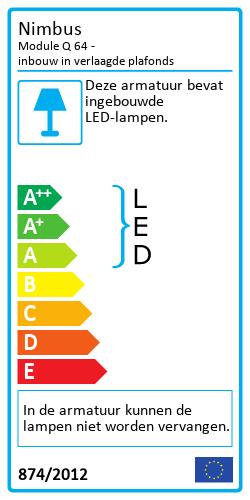 Module Q 64 - inbouw in verlaagde plafondsEnergy Label