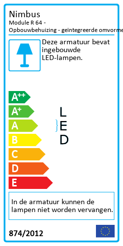 Module R 64 - Opbouwbehuizing - geïntegreerde omvormerEnergielabel