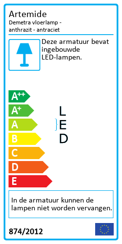 Demetra vloerlamp - anthrazitEnergielabel