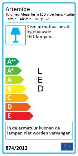 Tolomeo Mega Terra LED vloerlamp - satijnEnergielabel